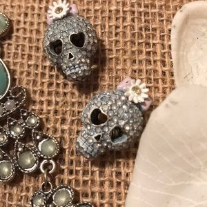 Betsey Johnson Skull Stud Earrings